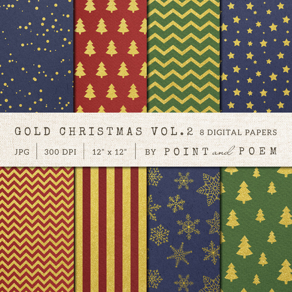 Christmas Digital Paper Gold Pattern