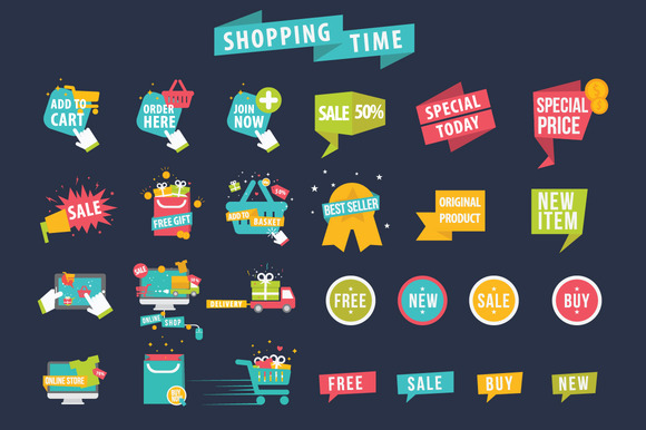 Shopping Time Banner Vector Set