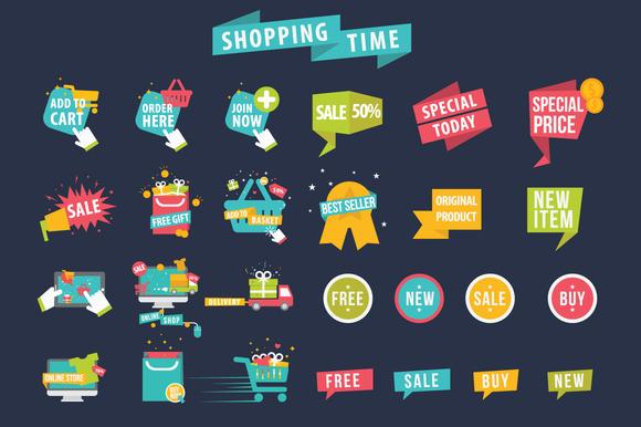 Shopping Time Banner Vector Set