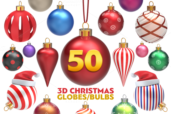 Christmas Globes Pack 3D