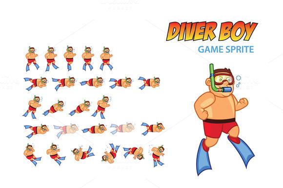 Diver Boy Game Sprite