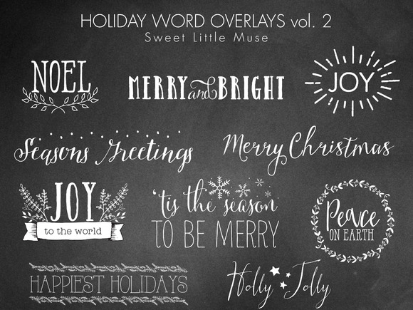 Christmas Word Overlays Digital