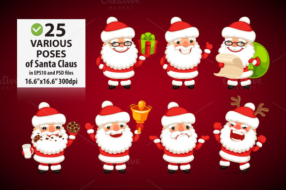 Set Of Cartoon Santa Clauses