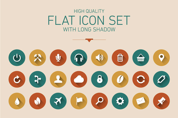20 Flat Icon With Long Shadow