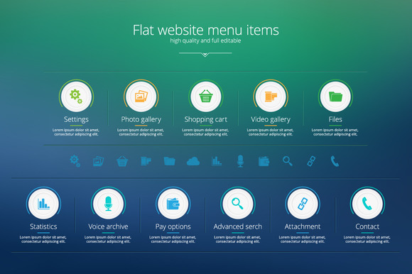 Flat Website Menu Items