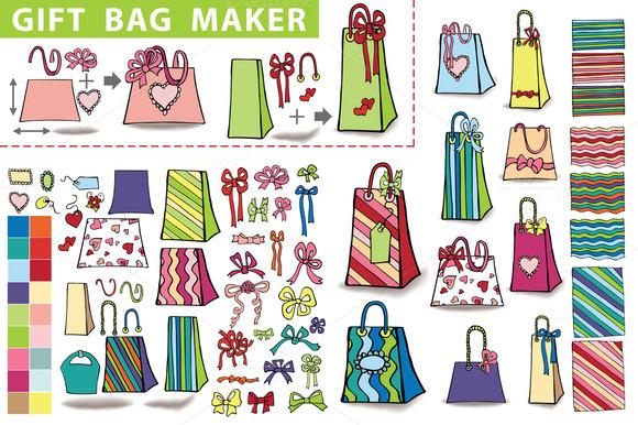 Gift Bag Maker.Doodle Set