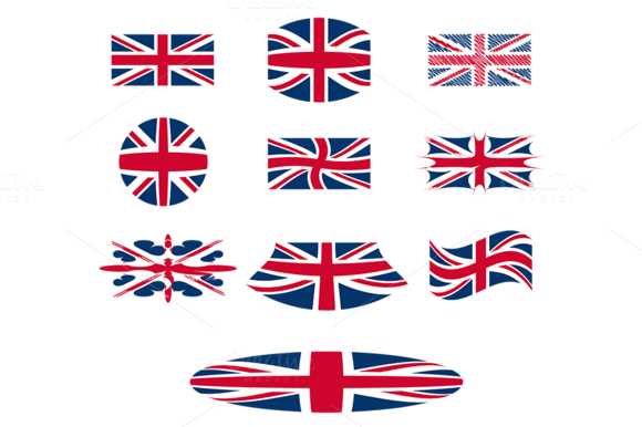 10 Great Britain Flags Vector