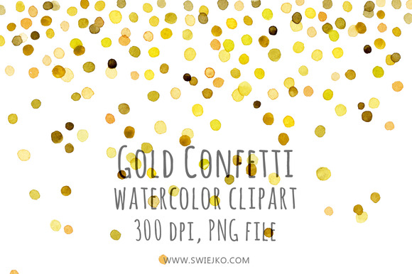 Watercolor Clipart Gold