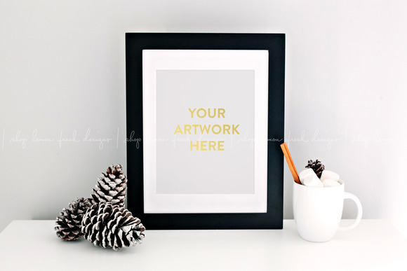 Christmas Holiday Black Frame Mockup