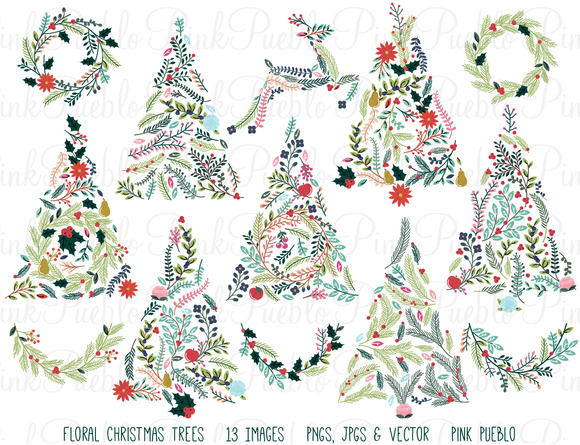 Floral Christmas Trees Bunting