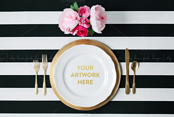 Black And White Styled Place Setting