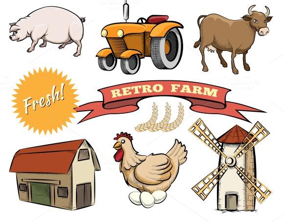Retro Farm Vector Icons