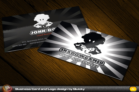 Shadow Gamer Business Card Logo
