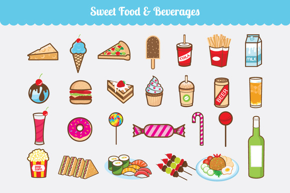 Sweet Food Beverages Vector Set