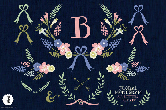 Floral Wreaths Laurels Monogram C75