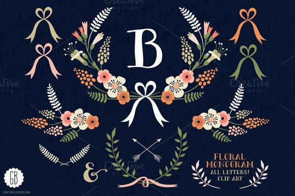 Floral Wreaths Laurels Monogram
