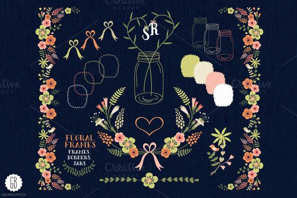 Floral Frames Jars Stationery