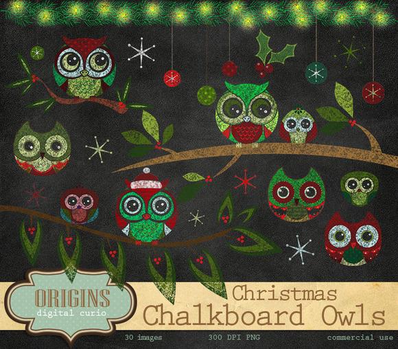 Christmas Chalkboard Owls