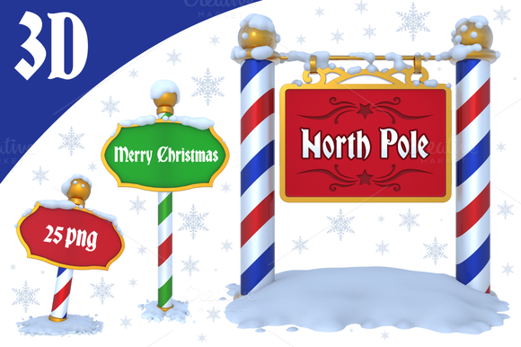 North Pole Sign 3D