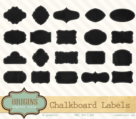 40 Chalkboard Labels Frames Or Tags