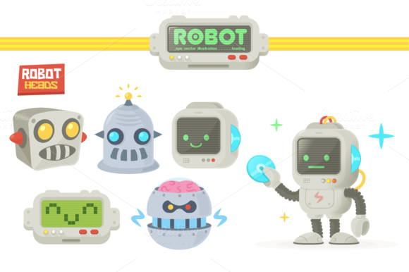 Vintage Comic Retro Robots