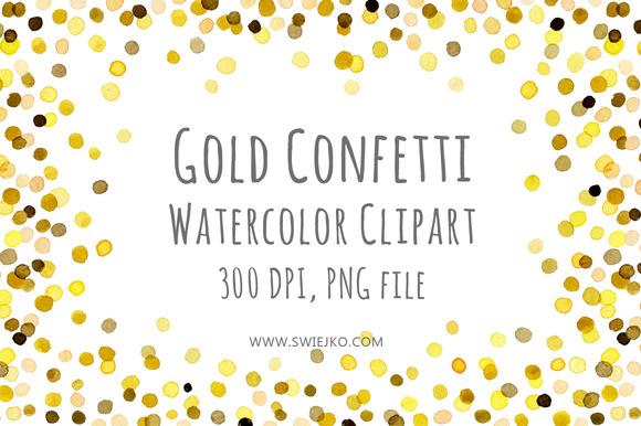 Watercolor Frame Confetti Clipart