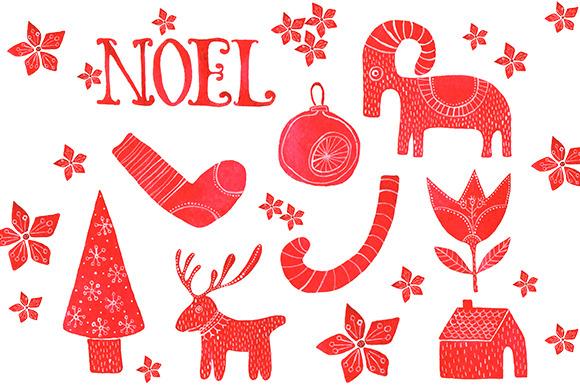 Rustic Christmas Watercolor Clipart