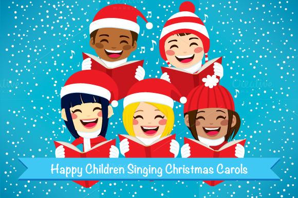 Happy Children Singing Carols