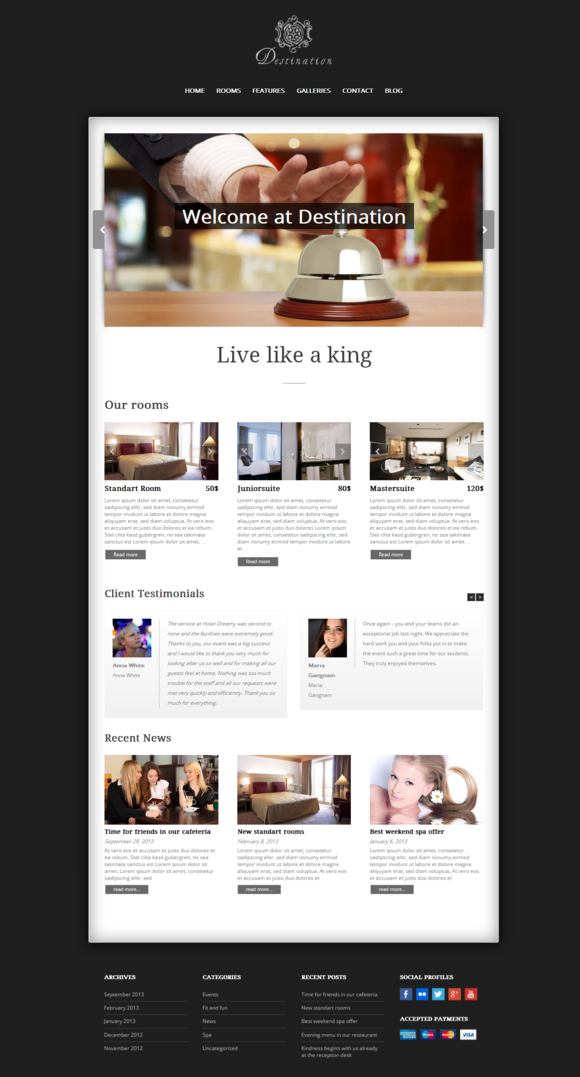 Destination Responsive Hotel Theme