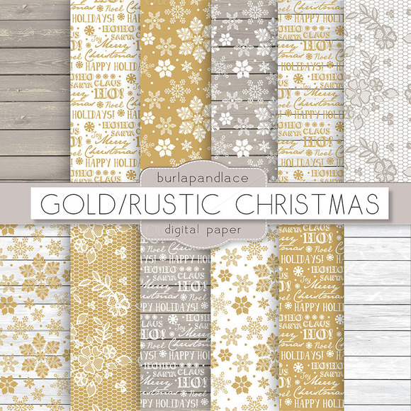 Gold Rustic Christmas Digital Paper