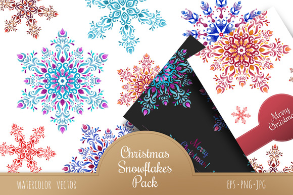 Christmas Snowflakes Watercolor Pack