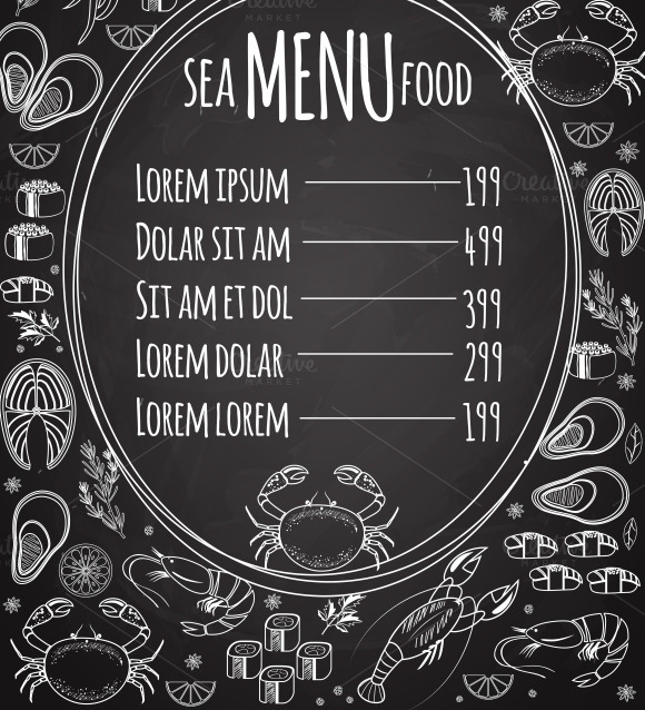 Seafood Chalkboard Menu Template