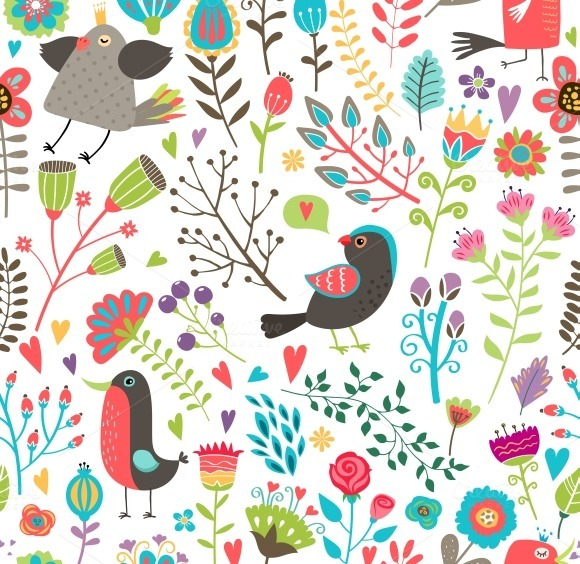 Hand-drawn Birds And Flowers Pattern
