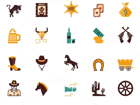Western Flat Vector Icons
