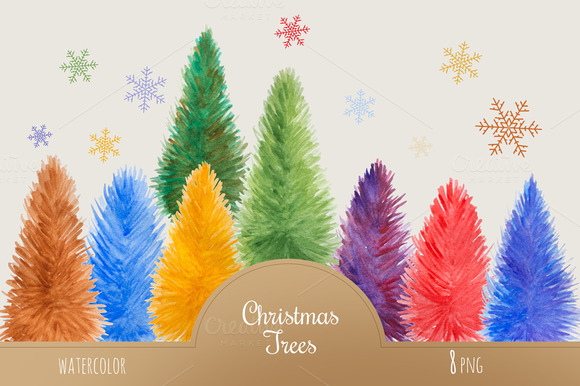Set Of Watercolor Christmas Trees