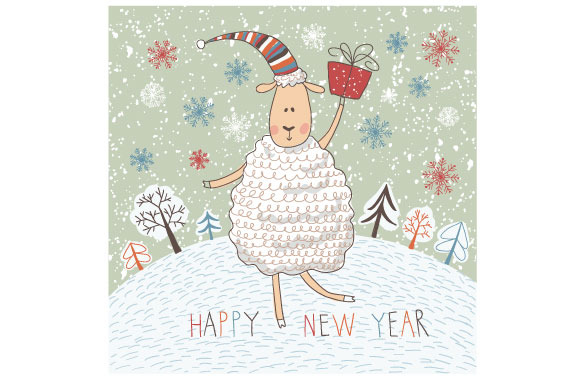 Funny Sheep On Winter Background And