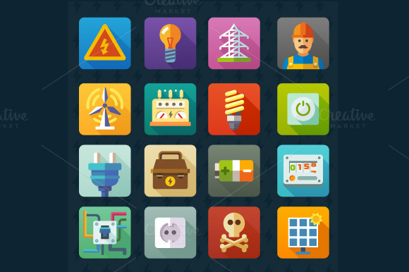 Electricity And Light Vector Icons
