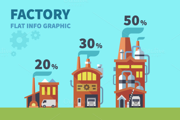 Factory Vector Flat Info Graphic