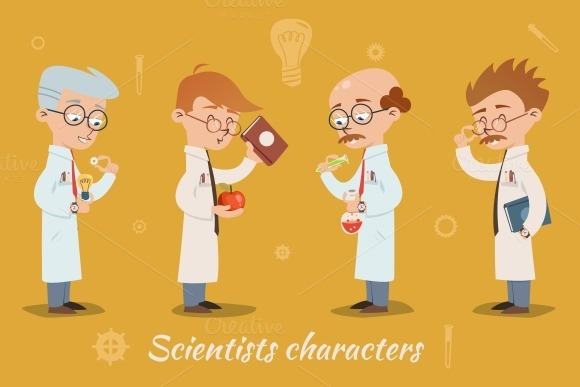 Four Vector Scientist Characters
