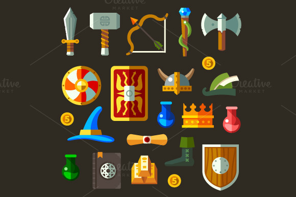 Game Weapon Icons Flat Set