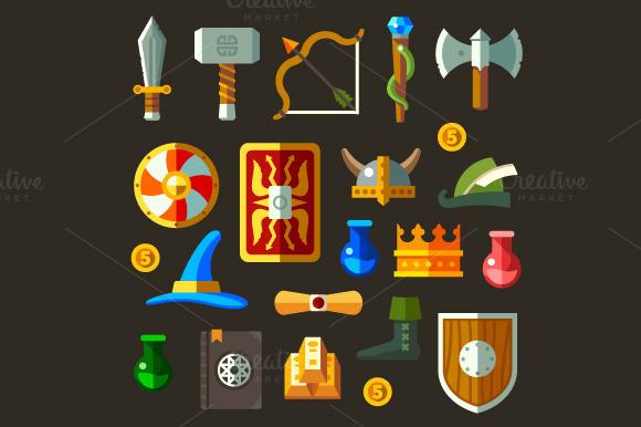 Game Weapon Icons Flat Set