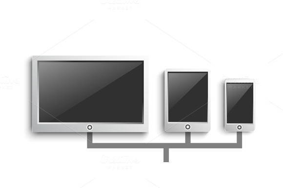 Set Of Modern Digital Devices