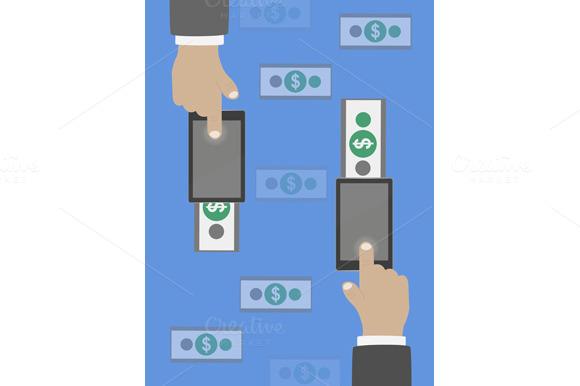 Money Transfer In Flat Design
