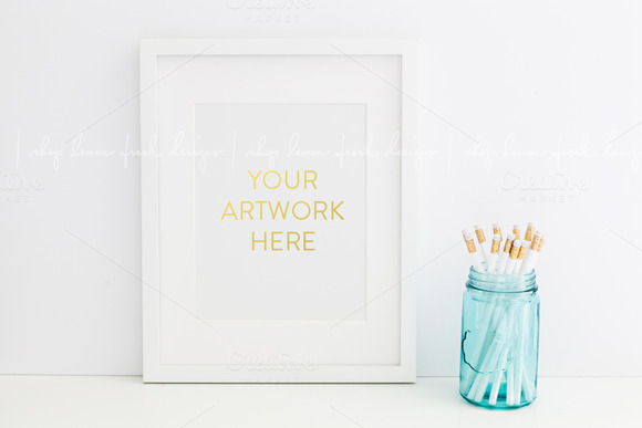 White Frame Styled Stock Photography