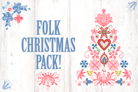 Folk Christmas Illustrations Pack