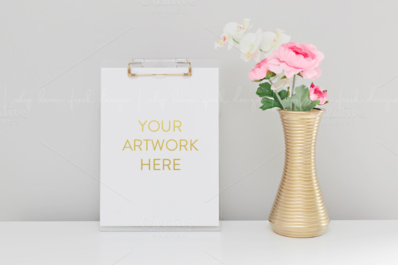 Styled Clipboard Florals Stock Image