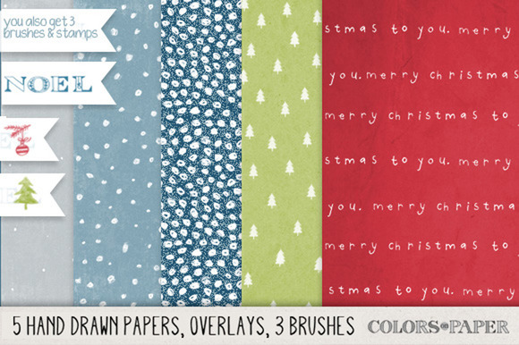 Hand Drawn Christmas Papers Overlays