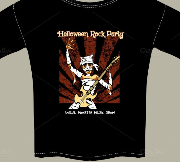 T-Shirt With Halloween Rock Music