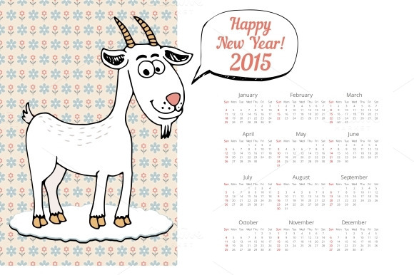 Calendar Template 2015 With Goat