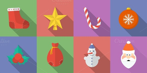 Set Of 16 Christmas Icons